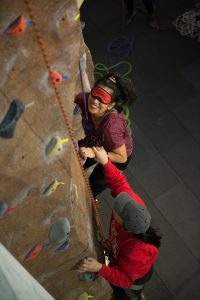 ISU students tried adaptive climbing during Adaptapalooza.