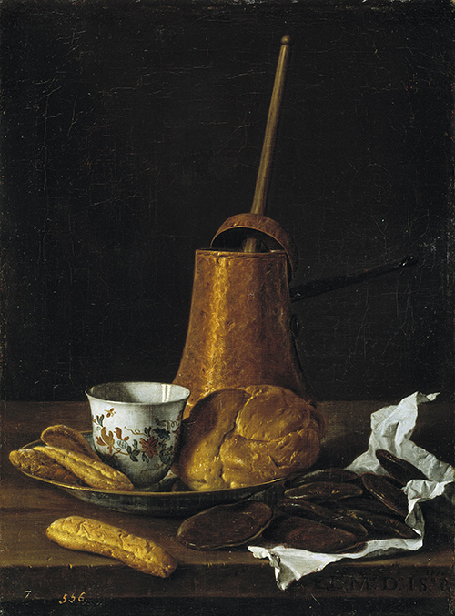 bread and hot chocolate in a painting
