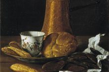 Portion of The painting Still Life with Chocolate Service by Luis Egidio Meléndez.