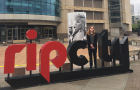 Scholarship recipient Molly Velbeck in front of the Moda Center, home to the Portland Trail Blazers.