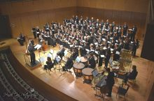 Image of the ISU Civic Chorale performing on stage at their 50th Anniversary Concert.