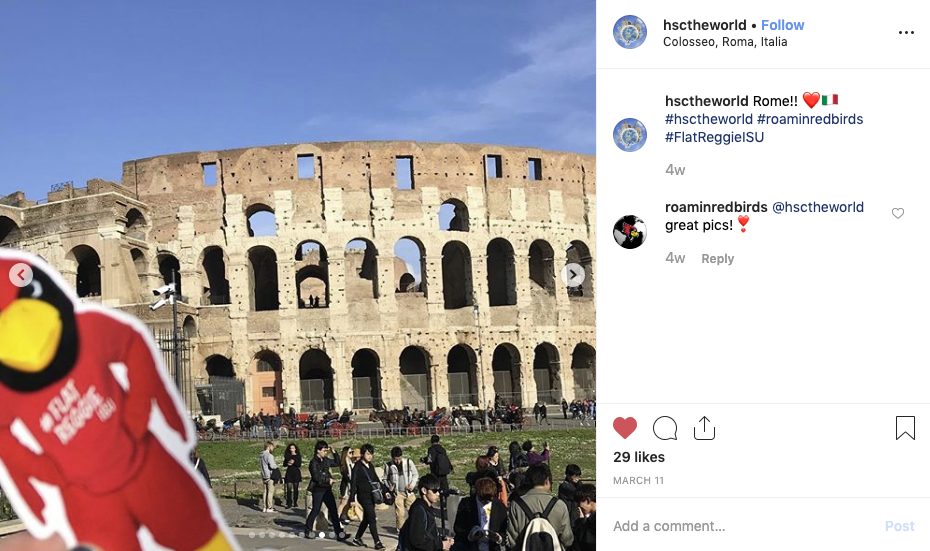 #FlatReggieISU was spotted in Rome during spring break.
