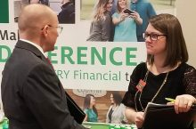 Many students connect with employers at job fairs for interviews