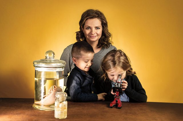 Marine scientist Jamie Baldwin Fergus with her children, Mack and Olivia.