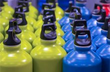 rows of metallic water bottles