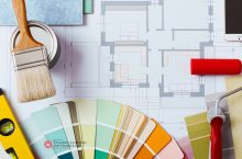Paint brushes, rollers, color charts, and blueprints with the CTLT logo.