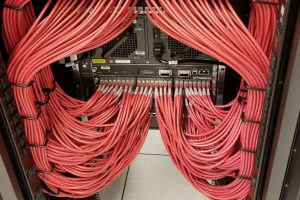 a network of wire plugged in