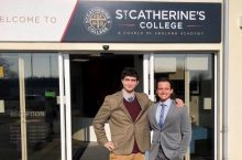 Noah Tang and Zack Maslanka in front of St. Catherine's College