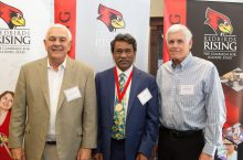 (Left to right) David Crumbaugh, donor of the Thomas E. Eimermann Professorship, Distinguished Professor Ali Riaz, and Professor Emeritus Thomas Eimermann