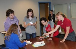 Students attending the Cross-institutional Undergraduate Research Experience took part in activities and workshops: Associate Professor Megan Powell (left), Marshall Johnson, Catherine Roberts, Illinois State Damian DeDivitis, Anna Singley. (Photo by Rodger Singley)