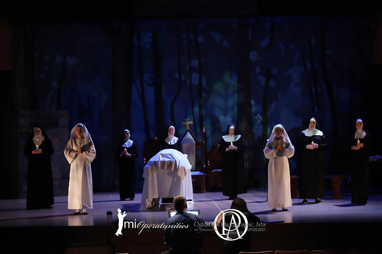 Performance image depicting actors as nuns.