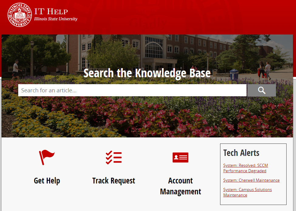 Search the Knowledge Base It Help Track Request Account Management website
