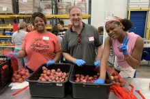 Members of the Chicago Suburban Alumni Network volunteered at the Northern Illinois Food Bank as part of #RedbirdImpact Month.