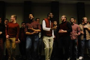 The Acafellaz performing in the Prairie Room in the Bone Student Center.