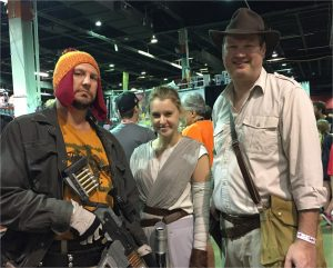 three people dressed as characters from movie and TVfrom