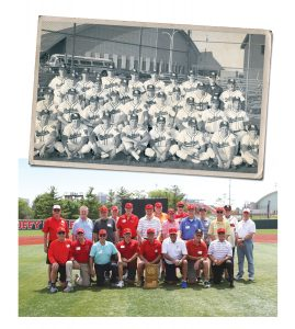 Members of the 1969 baseball team gathered again on the field at ISU during a reunion in the spring. The top photo shows all players from that magical season.