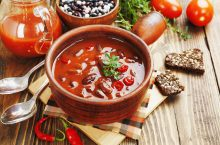 Chili soup with red beans and greens.