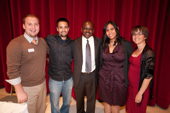 Lin-Manuel Miranda poses with University staff and faculty in 2010