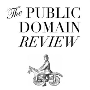The Public Domain Review Logo of man on wooden horse with wheels