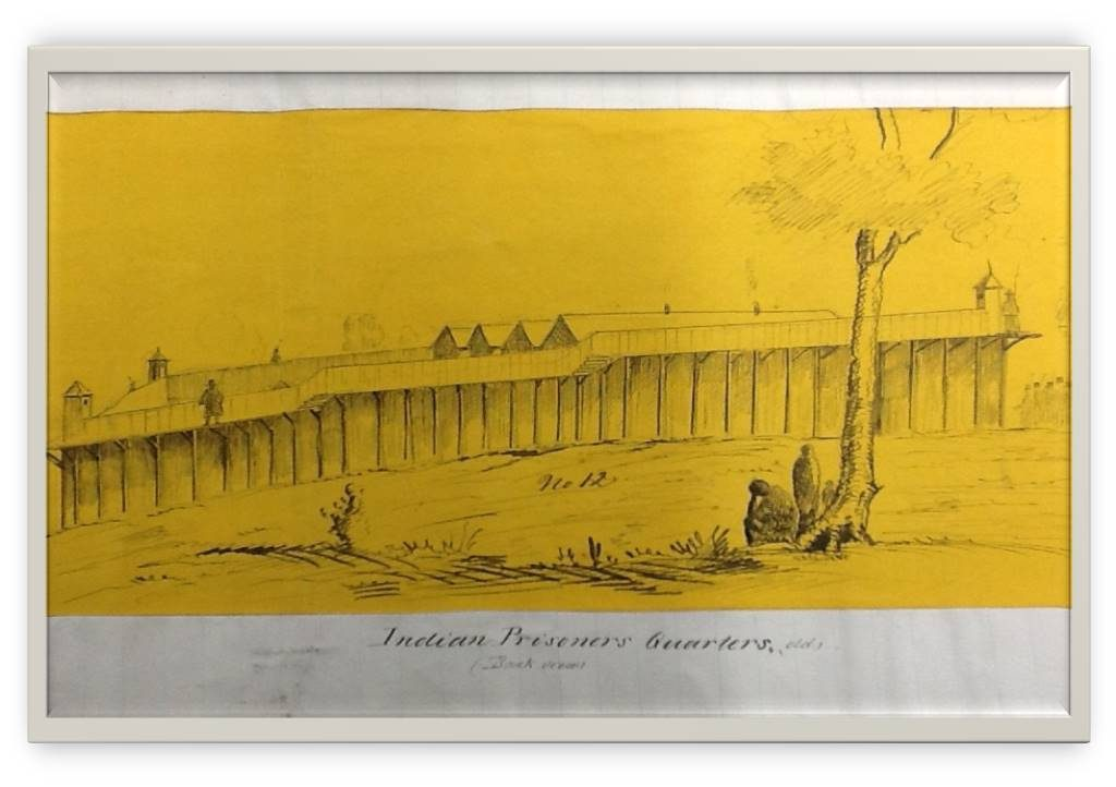 """drawing of prison with words """"Indian Prison Quarters"""""""