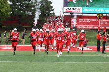 The Illinois State football team runs on to the field at their Sept. 7 home opener vs. Morehead State.