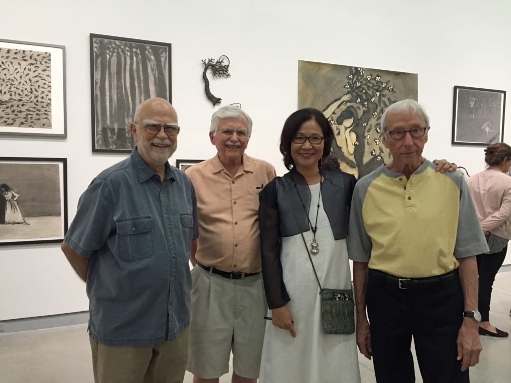 Wonsook Kim with the faculty who shaped her journey. Left to right, Ken Holder, Harold Gregor, Wonsook Kim, and Harold Boyd.
