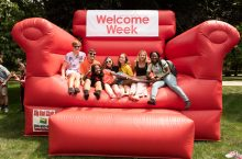 Students having fun at Welcome Week.