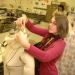 A student utlizes her creativity in fashion design.