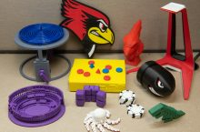 Objects printed by Milner Library's 3D printer.