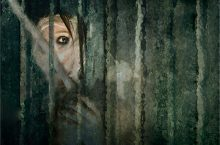 Production poster artwork depicting a woman peaking from behind a curtain.