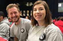 Ryan and Orsolya in AmeriCorps shirts