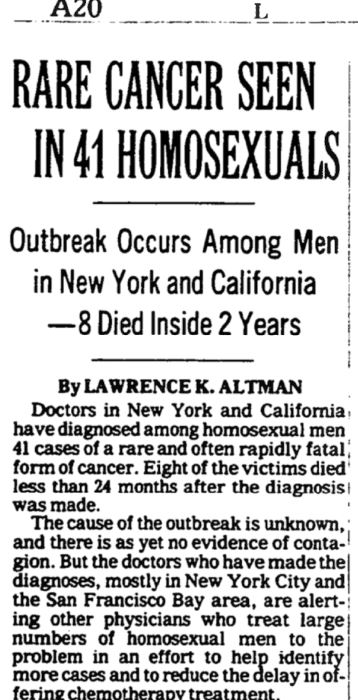 "clipping from the New York Timeswith title ""Rare cancer seen in 41 homosexuals"""