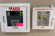 EpiPens and AED at Bone Student Center