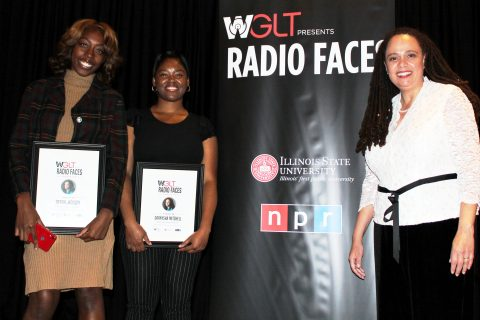 Student reporters Tiffani Jackson and Darnysha Mitchell, here with Korva Coleman, were named Korva Coleman Scholars at WGLT's Radio Faces event October 18 at the Marriott Hotel and Conference Center in Uptown Normal. (Photo by WGLT student photographer Izzy Carroll)