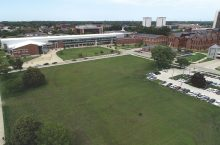 Overhead shot of a building on a University campus