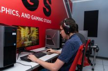 Illinois State student playing video games