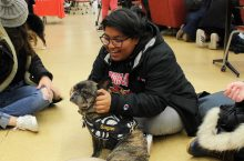 Student with therapy dog