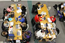 students with computers in Milner Library