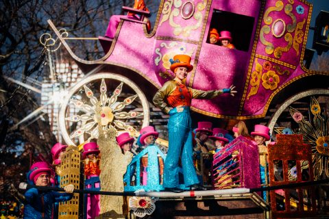 Gamma Phi Circus in front of the Coach float at Macy's Thanksgiving Day Parade (Photo courtesy of Coach and by Alyssa Greenberg)