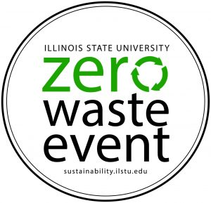 circle logo with the words Illinois State University Zero Waste Event, sustainability.ilstu.edu