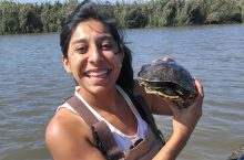 Biology doctoral candidate Rosario Marroquin-Flores in the field.