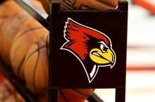 Redbird logo on a basketball rack
