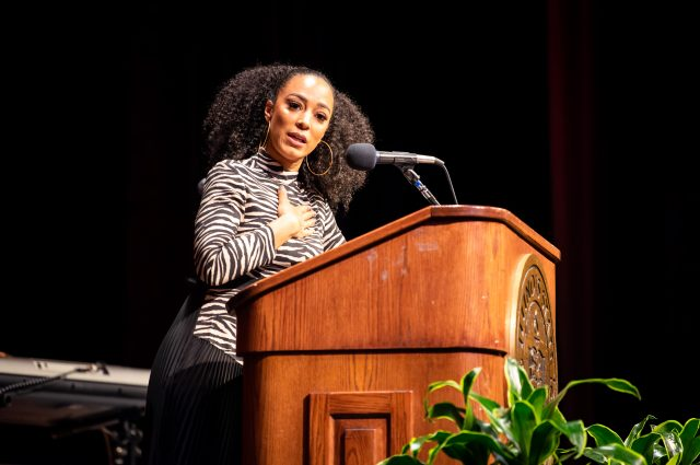 Political strategist and analyst Angela Rye spoke at the Martin Luther King Jr. Cultural Dinner.