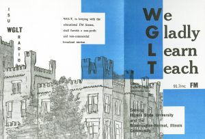 """Tri-fold pamphlet with outline of ISU building and acrostic WGLT call letters spelling out """"We Gladly Learn Teach."""""""