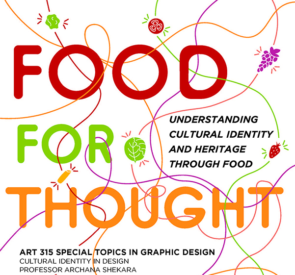 Large text includes Food for Thought. Smaller text includes Understanding cultural identity and heritage through food