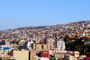 A scenic view of the rooftops of Valparaiso, Chile.