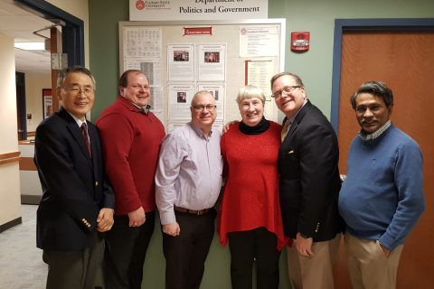 Department Chair Dr. T.Y Wang (left); Bernie Sapp '92; Ed Svoboda '91; Professor Dr. Nancy Lind; Dan Wagner '89, MS '92; and Distinguished Professor Dr. Ali Riaz