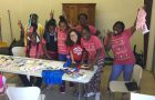 Camila Pasquel with students from the art club with Youth Hope