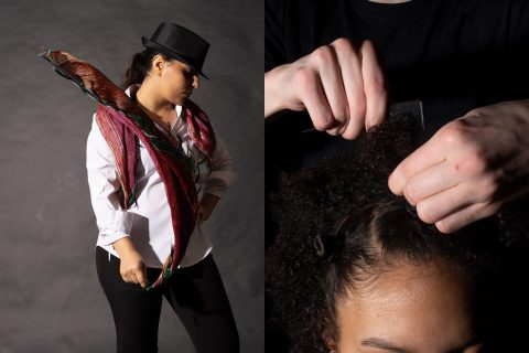 woman dancing with scarf, hands styling little girl's hair