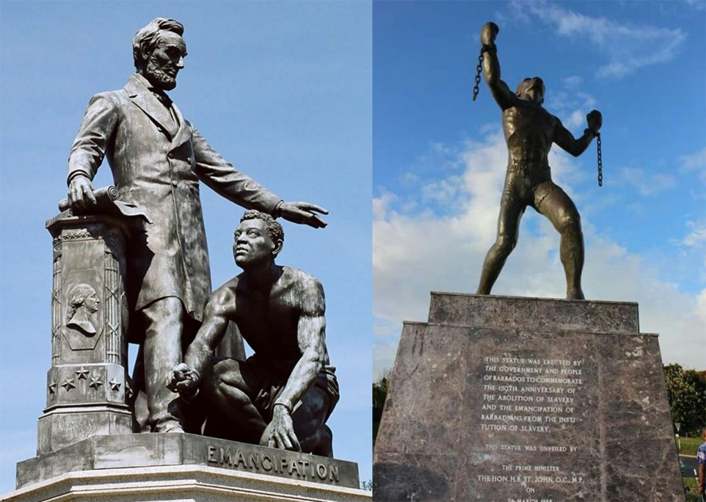two statues on emancipation: One form the United States with a former enslaved man kneeling at Abraham Lincoln's feet, and one from Barbados with a former slave rising and breaking his chains.